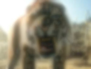 Blurry sabertooth cat