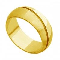 Aliança de Casamento em Ouro com Friso Grossa