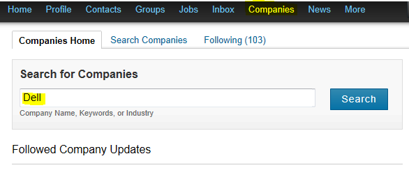 search for companies on LinkedIn, LinkedIn search companies,