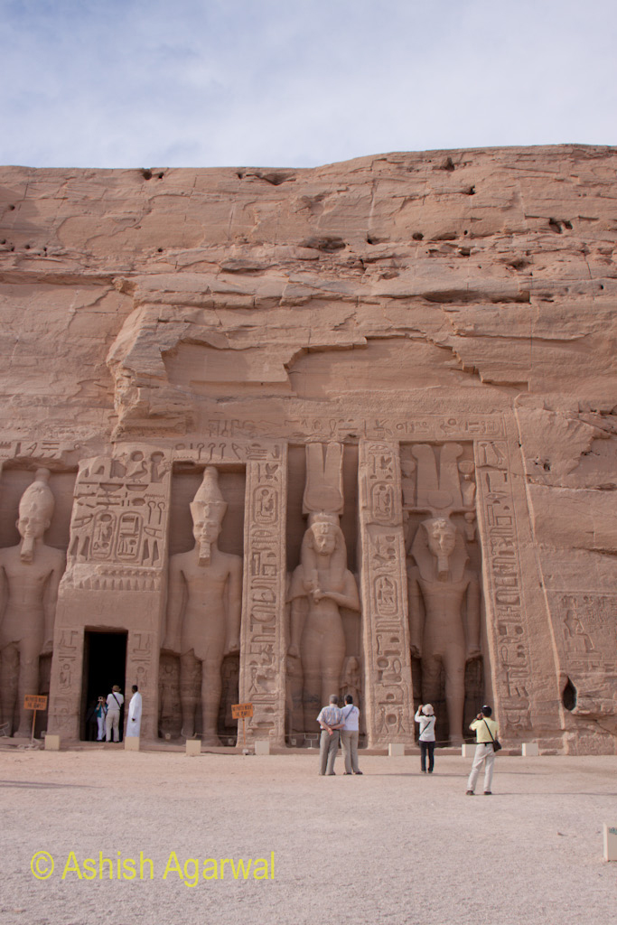 Front entrance of the smaller temple and its statues at Abu Simbel