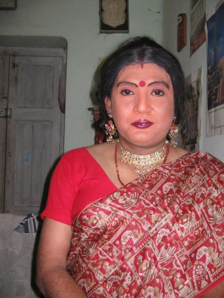 Indian Crossdresser from West Bengal - Feminized Man in Saree