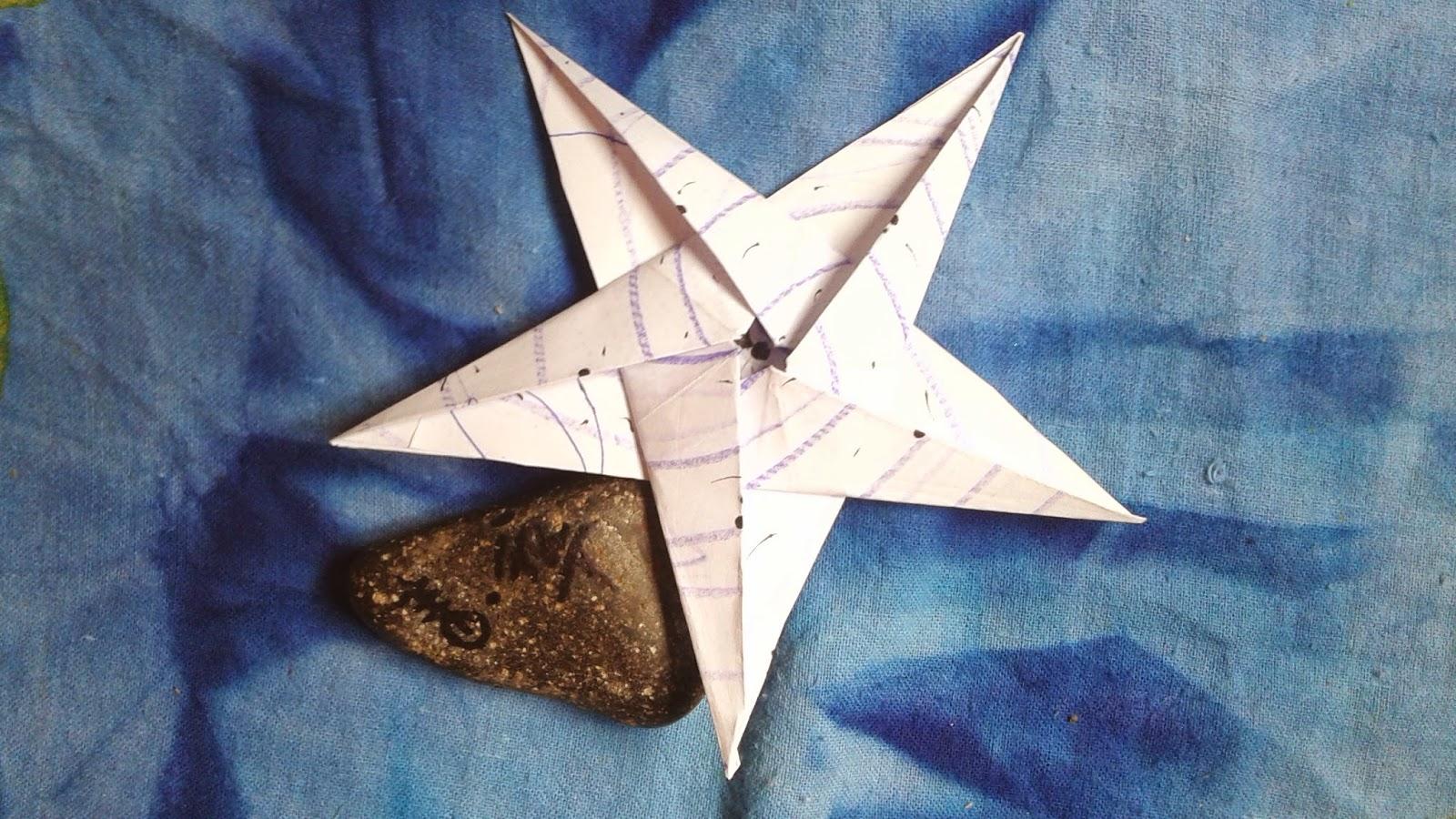 Se me va el baifo origami estrella 5 puntas con esquema y - Origami de una estrella ...