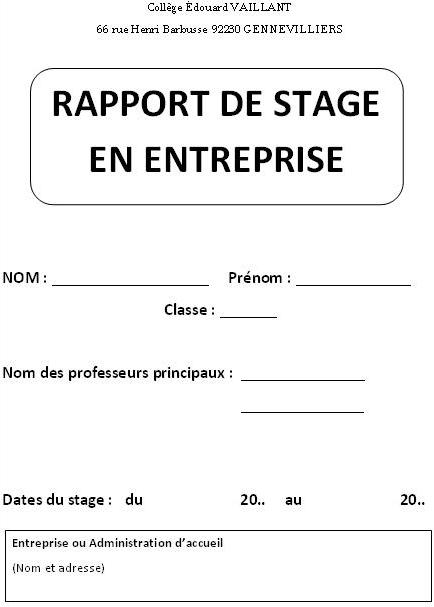 Rapport de stage bac pro restauration exemple