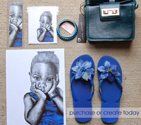Blue Girl 2 print, note card and bookmark from The True Colors Collection by Noami Foster