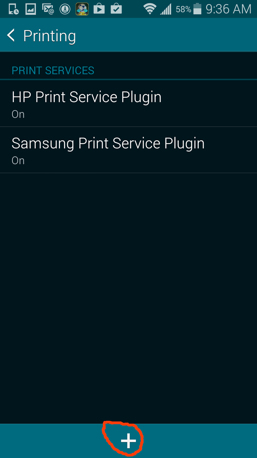 The General Printing Screen With Two Default Printer Plug Ins HP And Samsung Best Thing Would Be To Install Your Printers In From Playstore