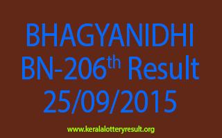 BHAGYANIDHI BN 206 Lottery Result 25-9-2015