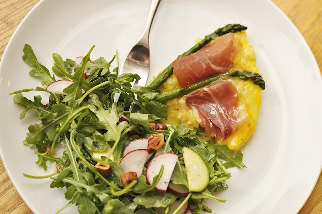 Leek, Asparagus, and Serrano Ham Frittata at Paprika Red