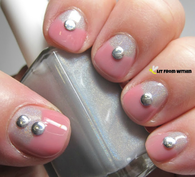 half-moon mani with the soft jelly pink of Essie Shop Till I Drop with Winstonia studs