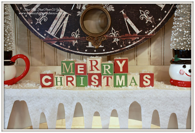 Vintage Farmhouse Christmas Kitchen-Felt Snow-Christmas Blocks-From My Front Porch To Yours