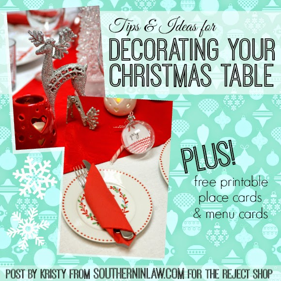 Tips and Ideas for Decorating Your Christmas Table on a Budget - Free Christmas Menu Cards and Place Card Printables