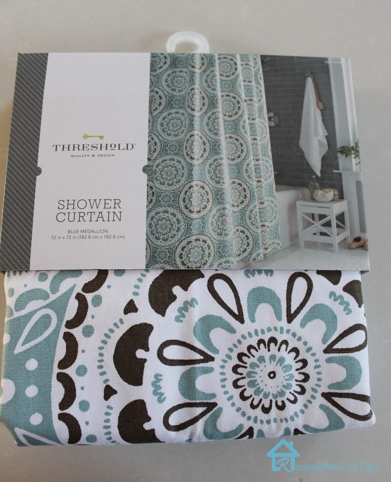 me introduce you to it target new medallion shower curtain i love it too price wise it was a more reasonable alternative to cover all six chairs