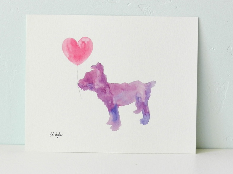 Original Watercolor Purple Dog with Heart Painting by Elise Engh: Grow Creative