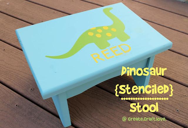 Dinosaur Stenciled Stool via createcraftlove.com #painting #stencil #kidsroom