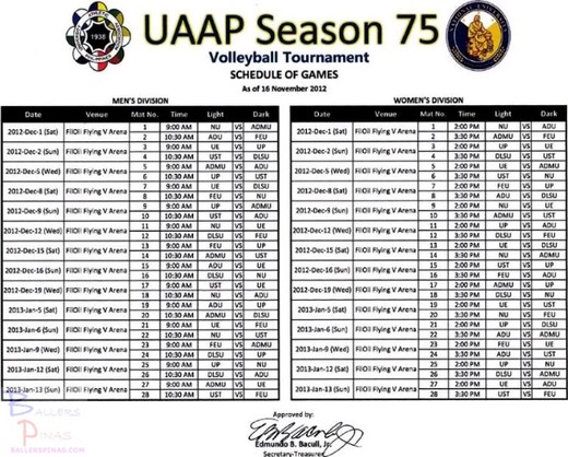UAAP Season 75 Women's Volleyball Schedule of Games: Game Schedule
