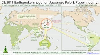 2011 Japan Earthquake & Tsunami Impact on Japanese Pulp and Paper Industry Eucalyptus Woodchip Imports Preliminary Assessment Map / Mapa preliminar de Impacto del Terremoto de Japon 2011 en la industria de pulpa celulosica y de papel del Japon y en la importacion de astillas de madera de eucalipto / パルプ紙2011年の日本地震の影響の予備的な地図セルロース日本 / เยื่อแผ่นดินไหวญี่ปุ่นและแผนที่อุตสาหกรรมกระดาษ / Япония 2011 целлюлозно землетрясения и карта бумажной промышленности / اليابان اللب والورق زلزال 2011 خريطة صناعة / Mapa Preliminar de Impacto do Terramoto e Tsunami de Japão  2011, na industria do papel e celulose do Japão  e na importaçao de chips de madeira de eucalipto / Gustavo Iglesias Trabado, GIT Forestry Consulting SL, Consultoria y Servicios de Ingenieria Agroforestal, Lugo, Galicia, España, Spain / Eucalyptologics, Information resources on sustainable eucalypt cultivation worldwide / Recursos de informacion sobre el cultivo sostenible del eucalipto en el mundo