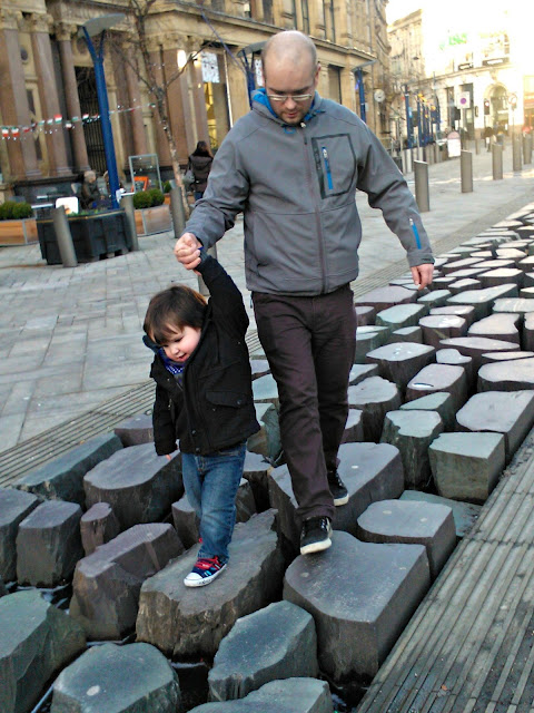 Boy Small Toddler Daddy Man Exchange Square Manchester Stepping Stones