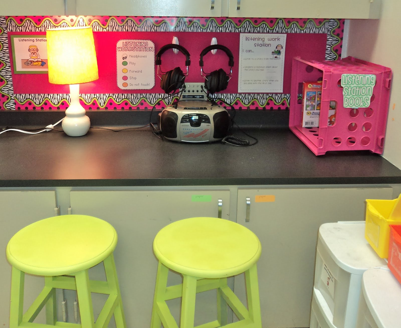 Classroom Center Ideas : Mounted listening center coffee a clever idea