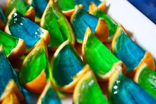 gajos de naranjas de colores