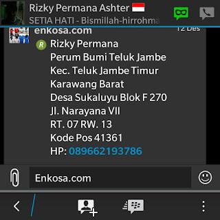 Konfirmasi detail pesanan dan alamat lengkap Rizky Permana oleh enkosa sport lokasi di jakarta pusat pasar tanah abang