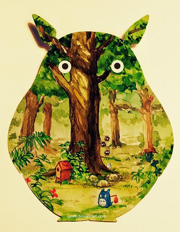 illustration de Qing Han d'une foret vu à travers la forme d'un Totoro