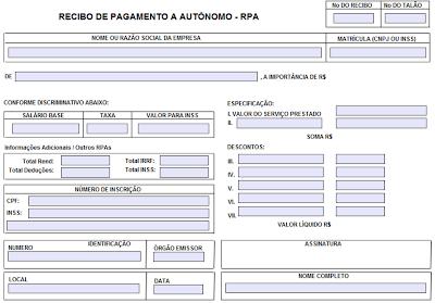 RECIBO DE PAGAMENTO AUTÔNOMO RPA 2012-2013
