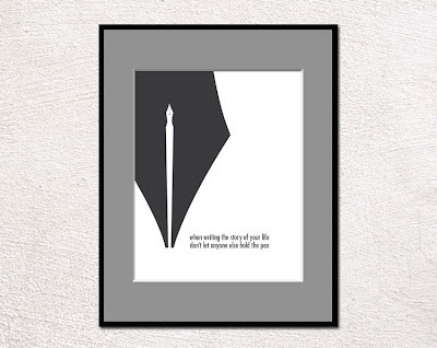 pen nib poster with text framed