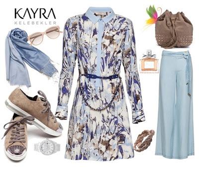 Kayra Pudra Mavisi Desenli Elbise ve Geniş Paça Pantolon Kombini
