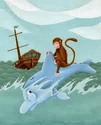 Fábula para niños el Mono y el Delfín, fábulas cortas con moraleja