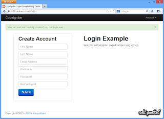 CodeIgniter Login - Account Created