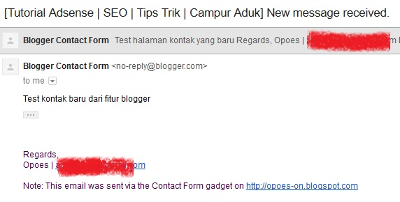 hasil pesan yang dikirim dari memasang contact form blogger yang baru, form kontak blogger blogspot baru