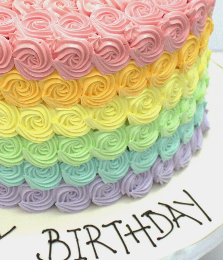 The Sensational Cakes RAINBOW PASTEL OMBRE ROSETTE CAKE SINGAPORE BEST ROSETTE CREAM DESIGNED