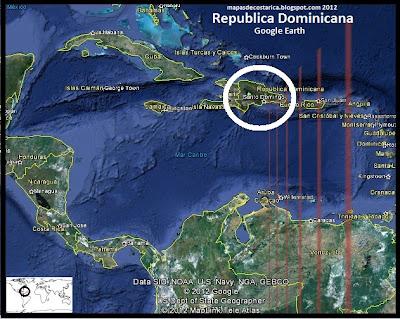 Mapa de República Dominicana en Centroamérica y El Caribe, Google Earth