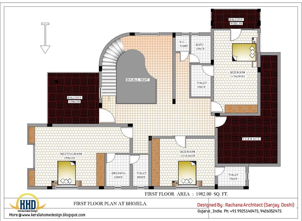 Luxury indian home design with house plan 4200 sq ft for 1st floor house plan india