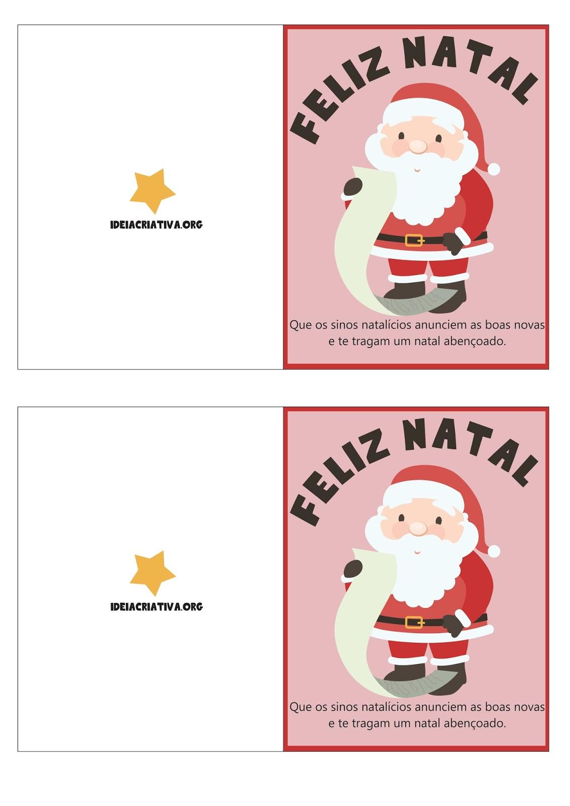 Cartões de Natal com mensagem natalina para Imprimir