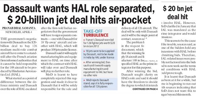 Indian MMRCA Project Talks Stuck After Dassault-HAL Role Fight