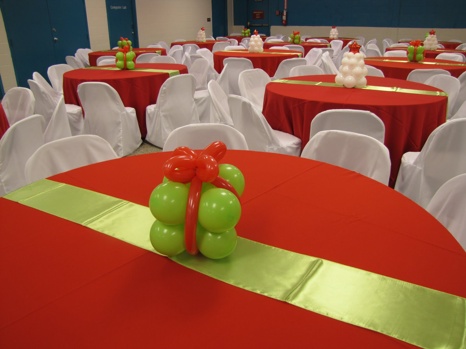 Party People Event Decorating Company Lime And Red Christmas Gala