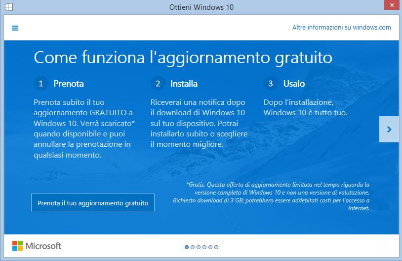 La prenotazione di Windows 10