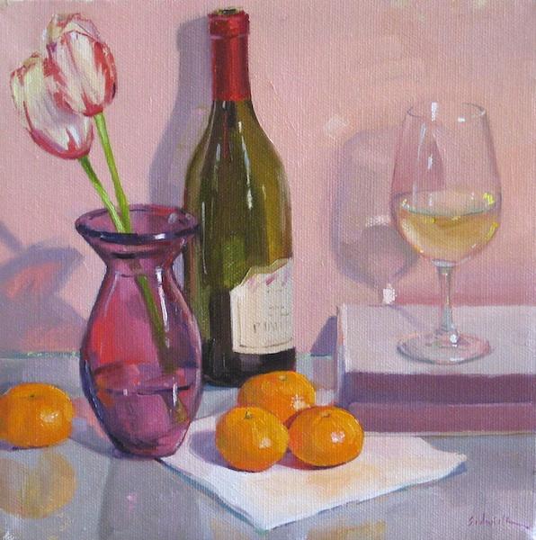 Sedwick studio pretty in pink white wine glass bottle painting pretty in pink white wine glass bottle painting flowers tulips fruit oranges mightylinksfo