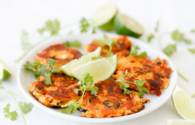 Sweet Potato Fritters with Mozzarella and Olives