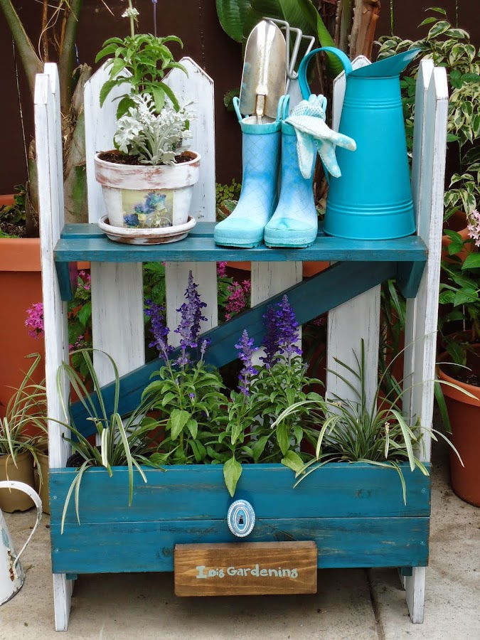 Distressed Picket Fence Garden Table - SOLD
