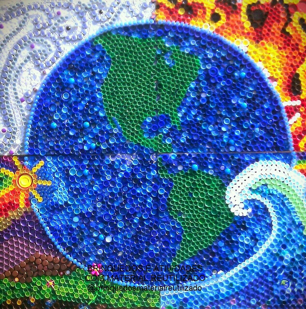 Brincadeira sustent vel mosaico com tampinhas de garrafas pet for El mural de mosaicos