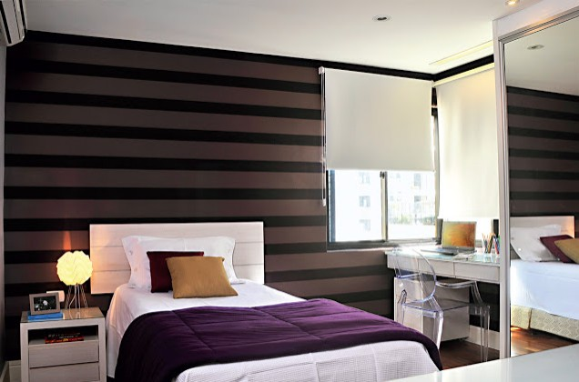 quarto pequeno, papel de parede quarto, luminaria, criado mudo, almofadas, cama, cabeceira