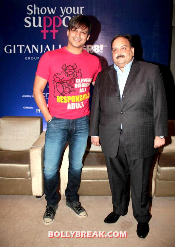 Vivek Oberoi, Mehul Choksi - (3) - Anushka Ranjan at Gitanjali Group supports Beti... A Movement