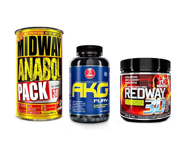 Suplementos Anabol Pack, AKG Fury e Redway 30, da Midway Labs - Foto: Divulgação