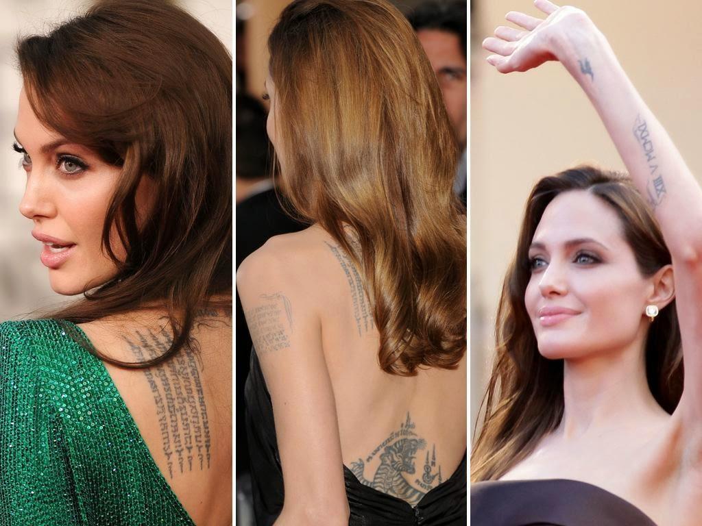angelina jolie back tattoos