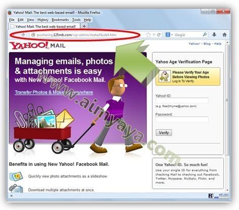 Gambar: Contoh tampilan website phising yang menyerupai Yahoo mail
