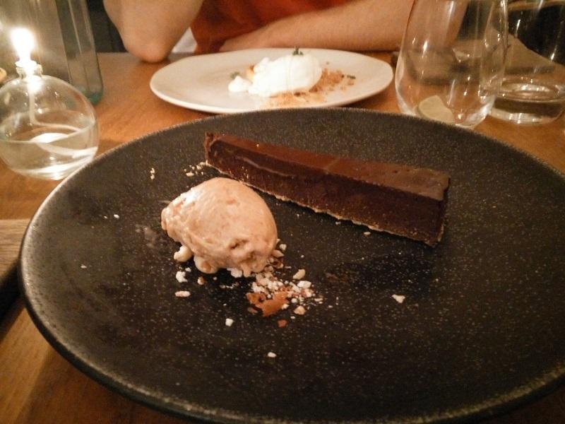 Vegan salted chocolate tart with peanut butter sorbet
