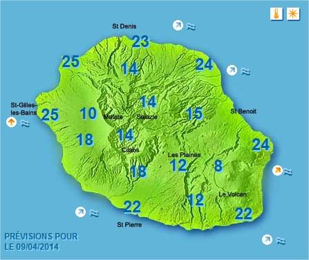 Prévisions météo Réunion pour le Mercredi 09/04/14