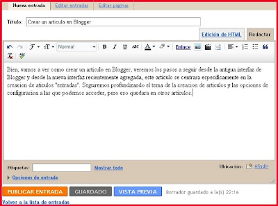 Crear un articulo en Blogger antigua interfaz