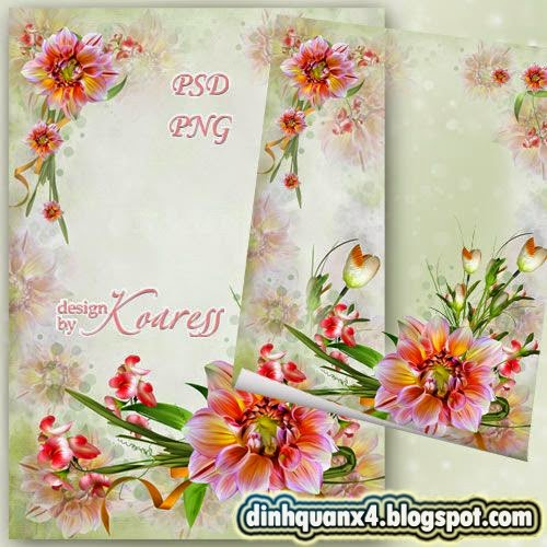 Floral frame for Photoshop - Floral fairy show